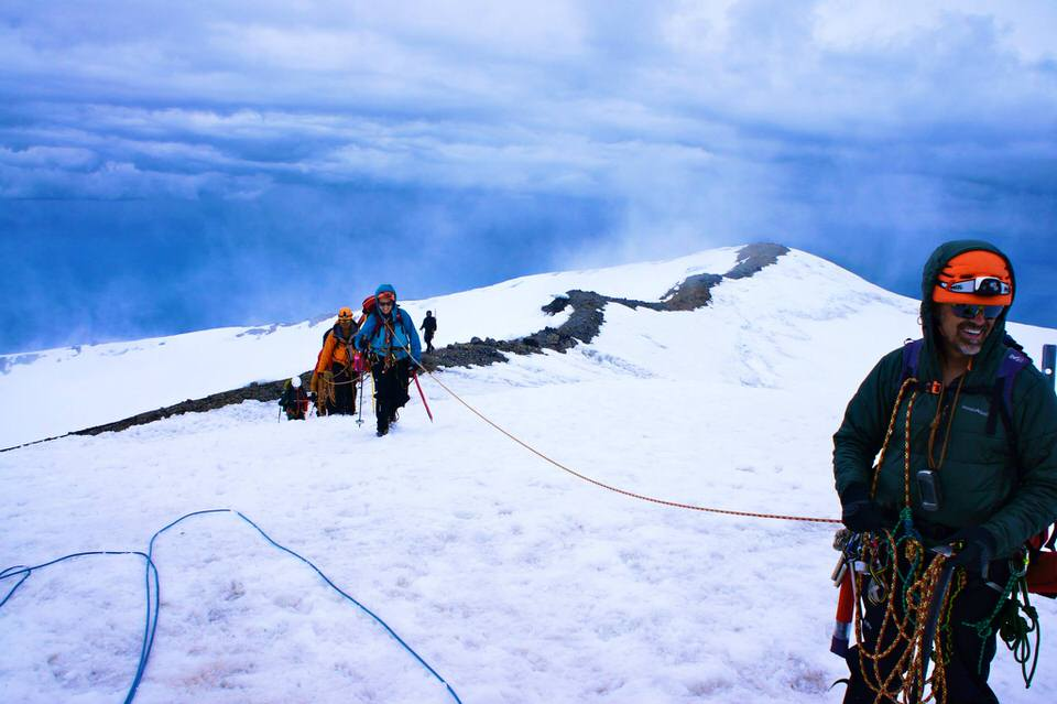 Roped up at the summit of Mount Rainier