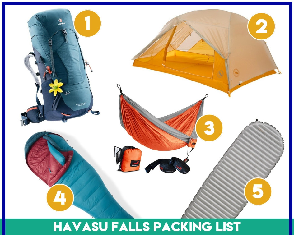 Gear items 1-5 on my essential Havasupai packing list.