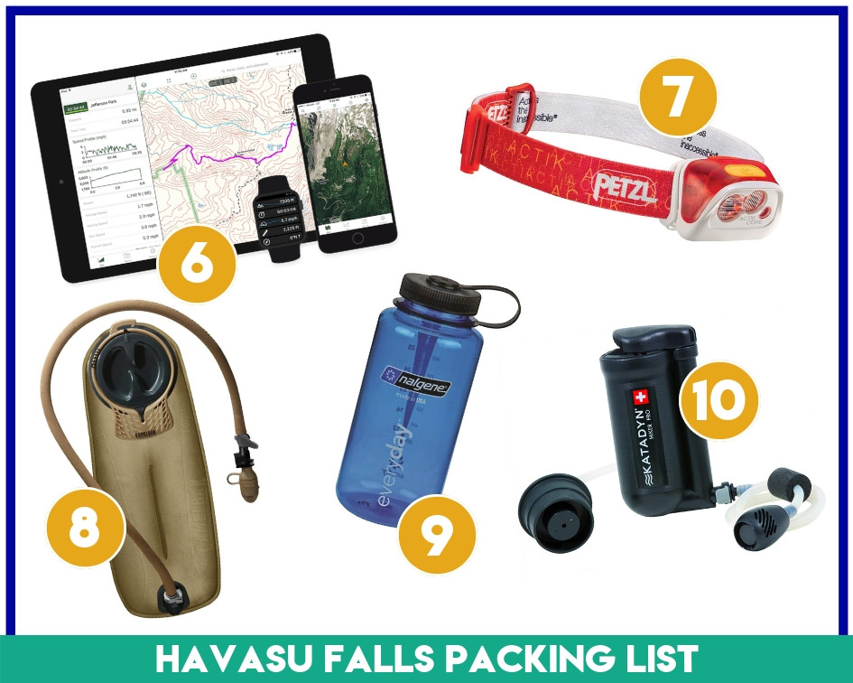 Essential gear items 6-10 in my Havasu Falls Packing List