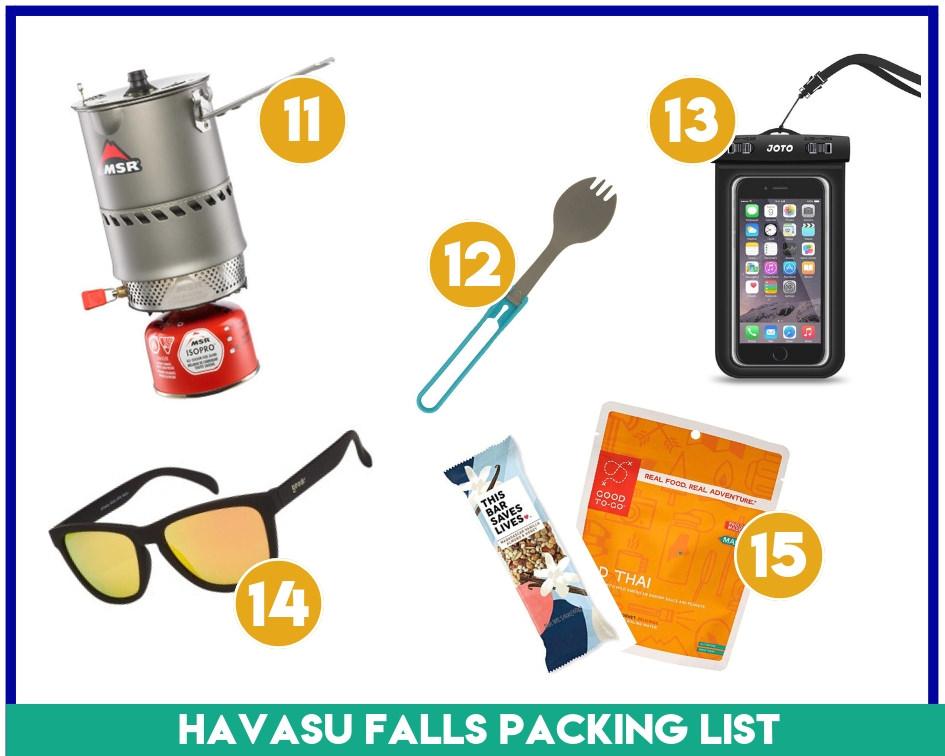 Gear items 11-15 on my Havasupai Falls packing list