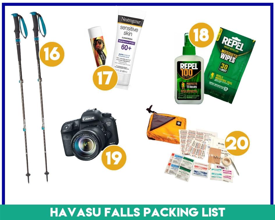 Gear items 16-20 on my Havasu Falls Packing List