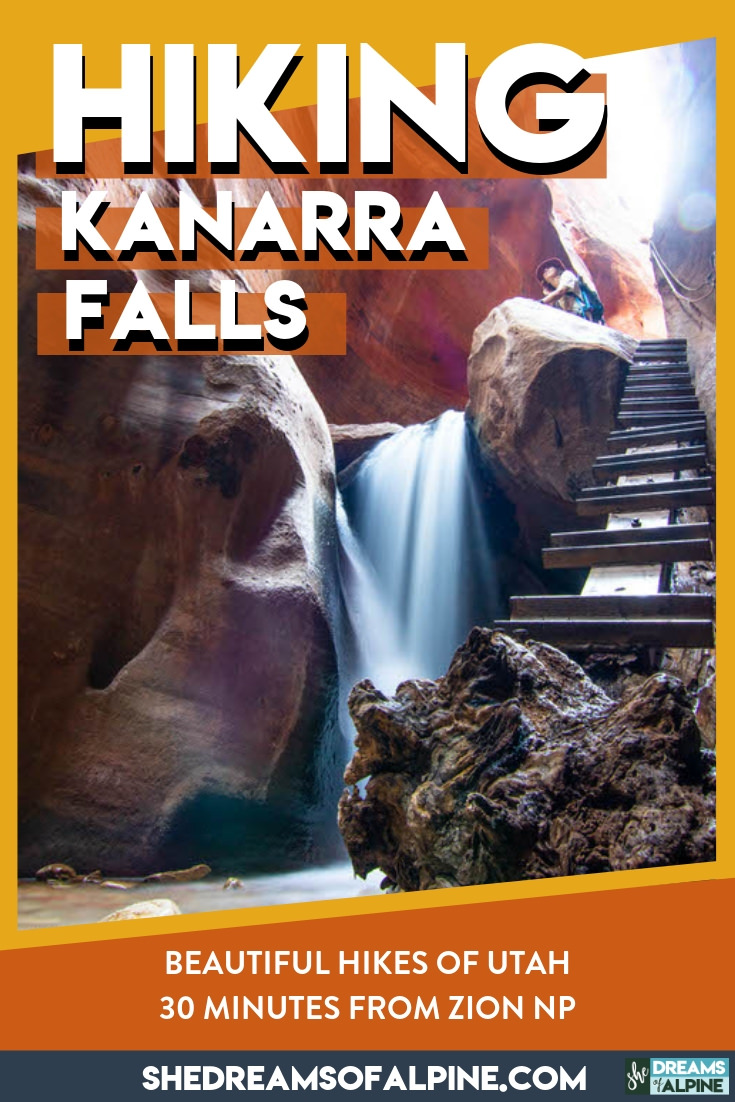 Hiking Utah's Hidden Gem, Kanarra Falls | If you happen to be exploring near Zion National Park, be sure to put this beautiful gem of a hike on your must-do list! At about only an hour away from Zion in Kanarraville, Utah, this is a lovely hike along the Kanarra Creek Trail that leads you into a tall desert slot canyon where you will hike to Kanarra Falls. Not to be missed! We've detailed all you need to know in our hiking guide! | shedreamsofalpine.com