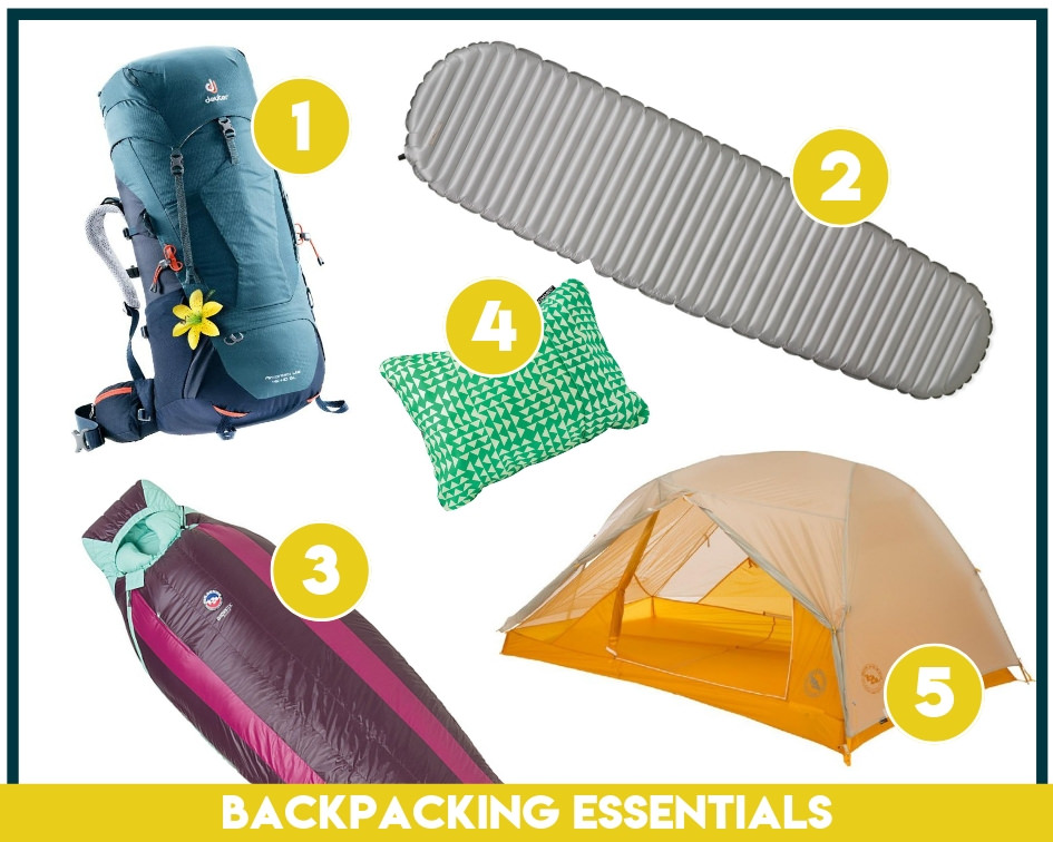 The backpacking essentials include your backpacking, sleeping pad, sleeping bag, backpacking pillow, and tent.