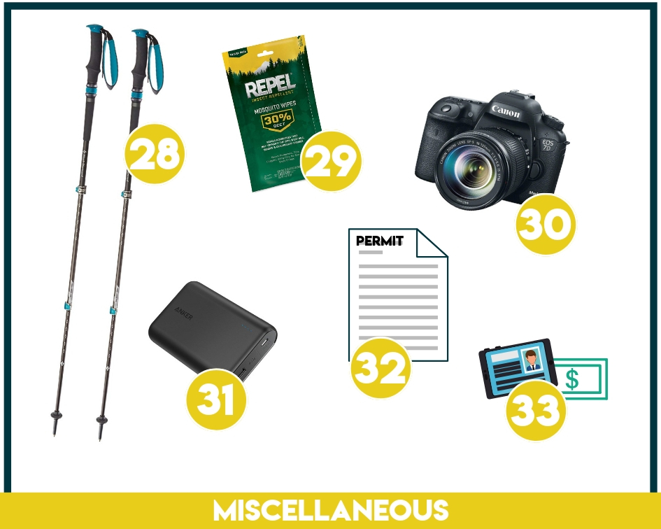 Miscellaneous backpacking equipment includes cameras, permits, bug spray, etc.