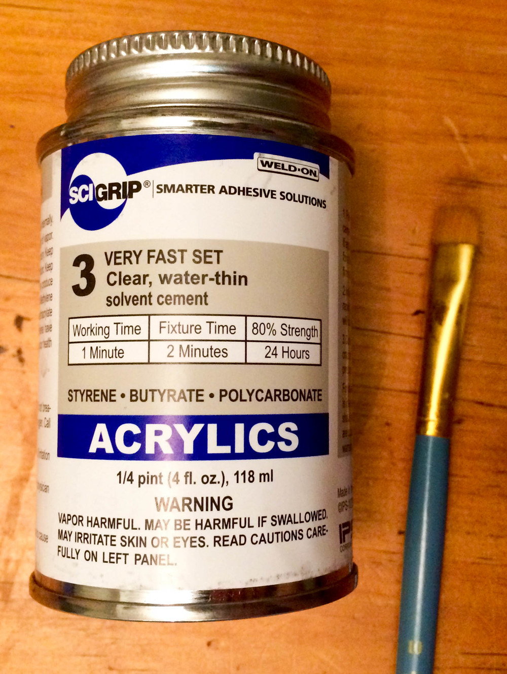 This adhesive drys extremely fast so make sure you have all your materials ready before hand. Please be aware you will also have to cut the top open. A matte knife will do the job. Be careful and don't cut your fingers off.