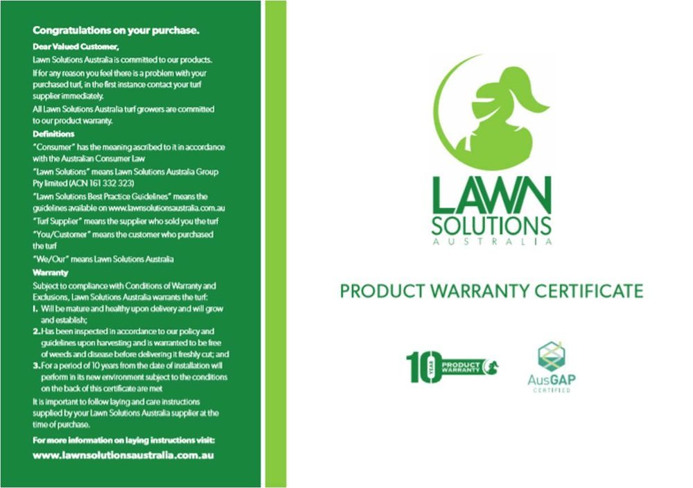 Superior Lawns 10 year warranty