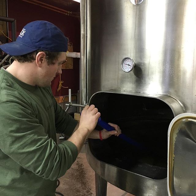 Mike pumping the last of our #bourbon mash into the fermenter. #distilling