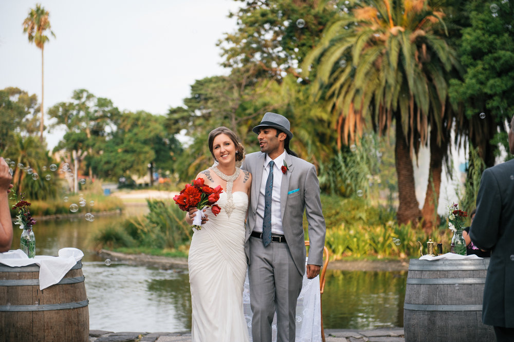 Tall & Small Events NYC, A&G, Modern Intimate Outdoor Multicultural British Australia Summer Wedding, Melbourne Real Wedding at Queens Park, Vic. Photo: Pierre Curry
