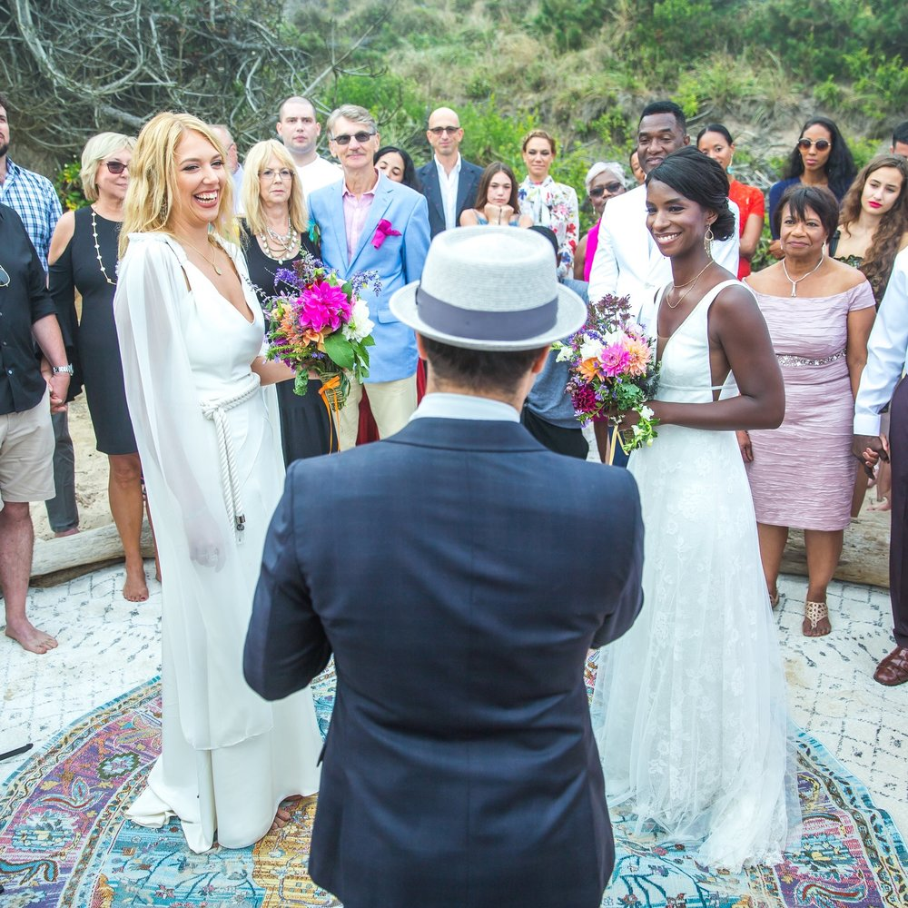 INTIMATE BOHEMIAN BEACH SAME SEX WEDDING + AL FRESCO DINNER & DANCE PARTY UNDER THE MONTAUK STARS    @ PRIVATE RESIDENCE, MONTAUK, NY   DIEDRA + KAROLINE