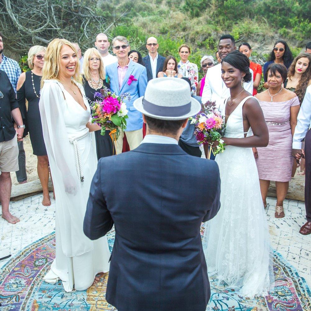 INTIMATE BOHEMIAN BEACH SAME SEX WEDDING + AL FRESCO DINNER & DANCE PARTY UNDER THE MONTAUK STARS    @ PRIVATE RESIDENCE, MONTAUK, NY   DIEDRA + KAROLINE