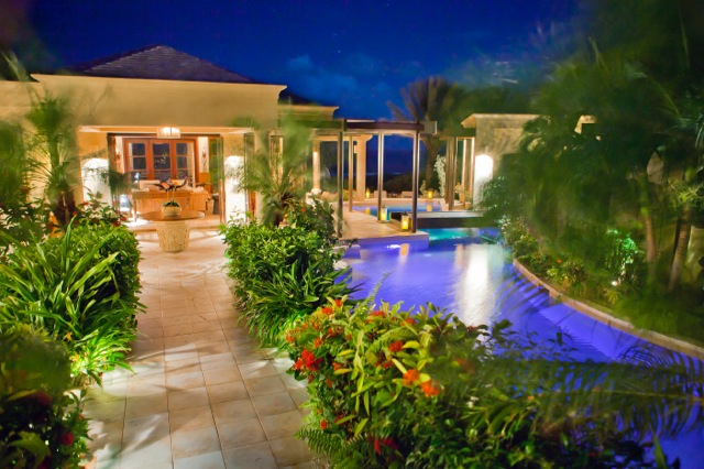 Night time photo of Anguilla Bird, one of the top luxury villas on the island