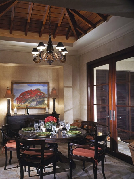 Breakfast room with custom-made tableware from Bali. Painting in background is by well-known Caribbean Impressionist, Sir Roland Richardson. Photo by Michael Wilson