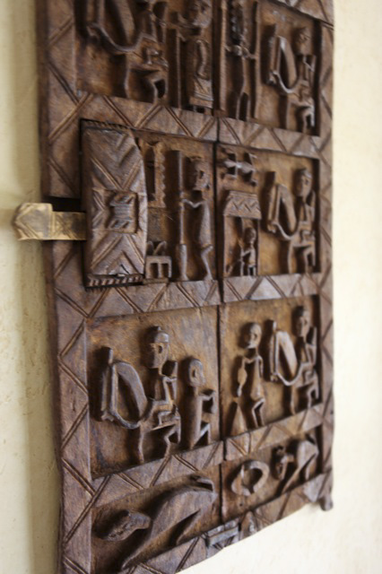 Carved gate from Mali used as a wall decoration