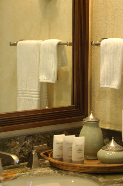 Celadon and pewter ceramics from the Oriental Hotel in Thailand. Bvlgari amenities. Frette Linens.