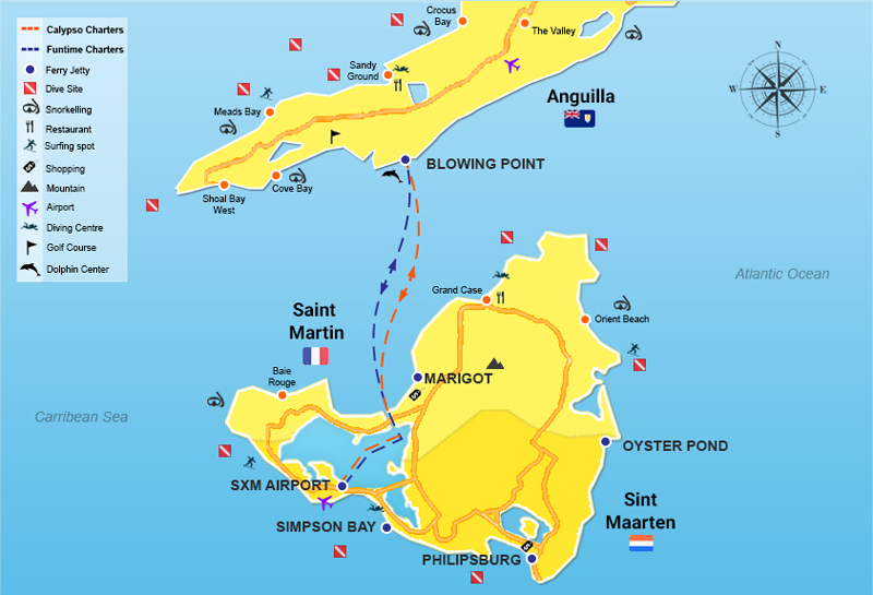 Map showing the details of how to get from St. Maarten to Anguilla