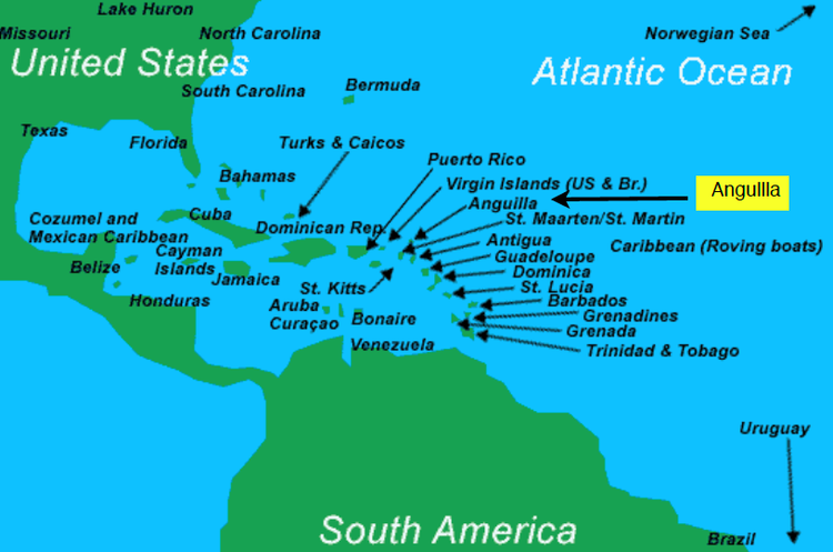 Map of Anguilla showing where Anguilla is located in relation to other Caribbean islands
