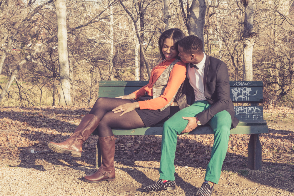 Engagement Portrait of Couple Sitting on Bench by Lamonte G Photography Baltimore