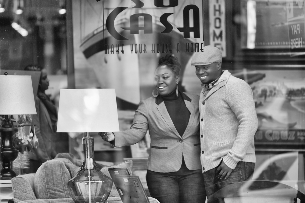 Engagement Portrait of Couple Shopping in Store by Lamonte G Photography Orlando