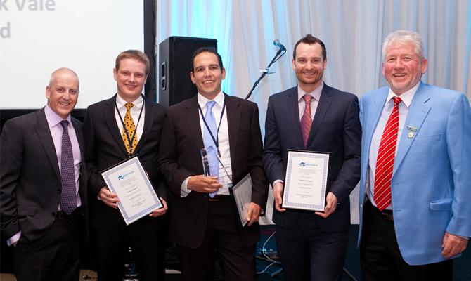 Andrew is pictured above (centre), holding the 2012 Frank Vale Award trophy with from left Paul Fleiszig, RWTA National Chairman ( Director Oxford Logistics Group), Shane Triggell, Queensland Division Finalist (Cold Store Manager Rand Transport), Nathan Roylance, Victorian Division Finalist (Assistant Manager Oxford Cold Storage), and Martin Porter, Managing Director of Retracom Group.