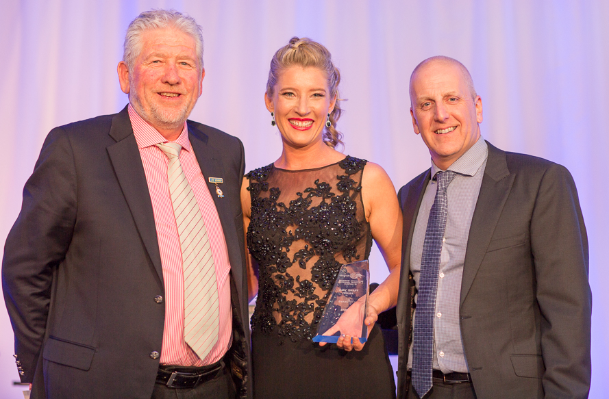 Martin Porter - Managing Director - Retracom Contracting with 2015 Frank Vale Award Winner Melissa Hunt - S&D Logistics P/L (NSW), and Paul Fleiszig - Chairman RWTA