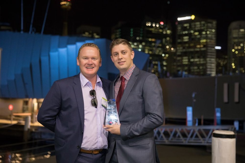 (Left to right): Shannon Porter, CEO, Retracom Contracting and 2017 Frank Vale Award recipient Mathew Reiffel, Operations Manager, Americold Logistics