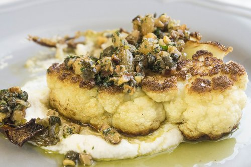 Cauliflower steak with walnut caper salsa cooking companion channel cauliflower steak with walnut caper salsa forumfinder Gallery
