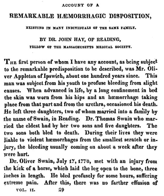 Hay, John. Account of a Remarkable Haemorrhagic Disposition, Existing in Many Individuals of the Same Family. New England Journal of Medicine 1813:2;3;221-225.