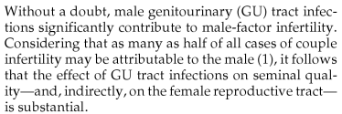Male Genital Tract Infections and Infertility. Neal, DE, Weinstein, SH. In Male Reproductive Dysfunction ed Kandeel FR. Informa Healthcare 2007