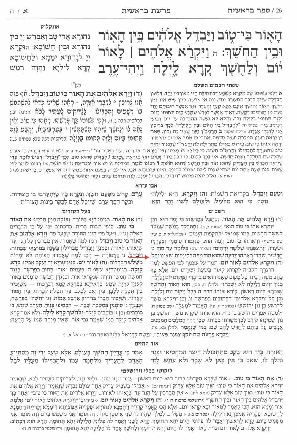 חומש מקראות גדולות בראשית. ארטסקרול–מסורה 2014. The red arrow indicates censorship of the Rashbam.