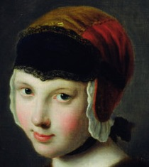 Detail from  A Girl with a Black Mask  by  Pietro Antonio Rotari