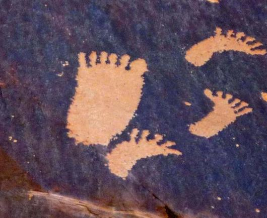 Polydactylous feet from Newspaper Rock in Indian Creek State Park, Utah. These carvings in rock are called petroglyphs, and were made by native Americans as long as  1,500  years ago .