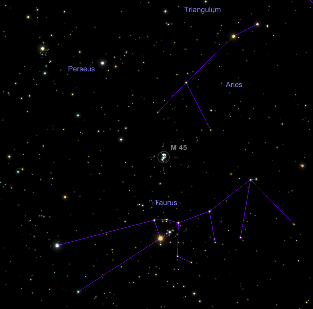 The Pleidas (M45) sits right in between Taurus and Aires...