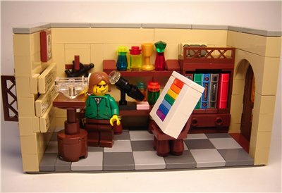 Isaac Newton divided  a ray of sunlight with a prism in a series of experiements published in 1672.  Lego recreation is from here.