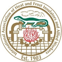 Logo of the  International Association of Heat and Frost Insulators and Allied Workers.  It's a salamander over a fire, and insulating some pipes.