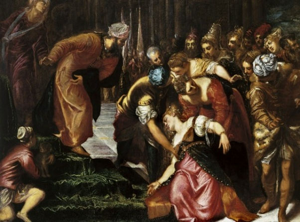 Esther before Ahasuerus   by Jacopo Tintoretto (1519-94). From The Royal Academy of Arts, London.