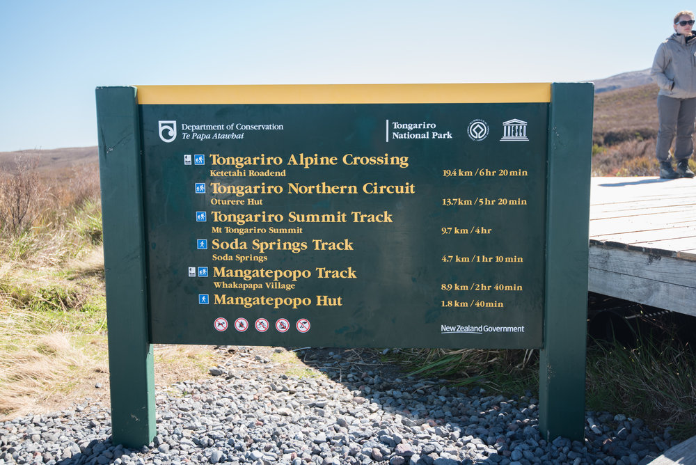 A sign at the beginning of the Tongariro Alpine Crossing (stay tuned for a blog about this hike) showcasing a few Maori names.