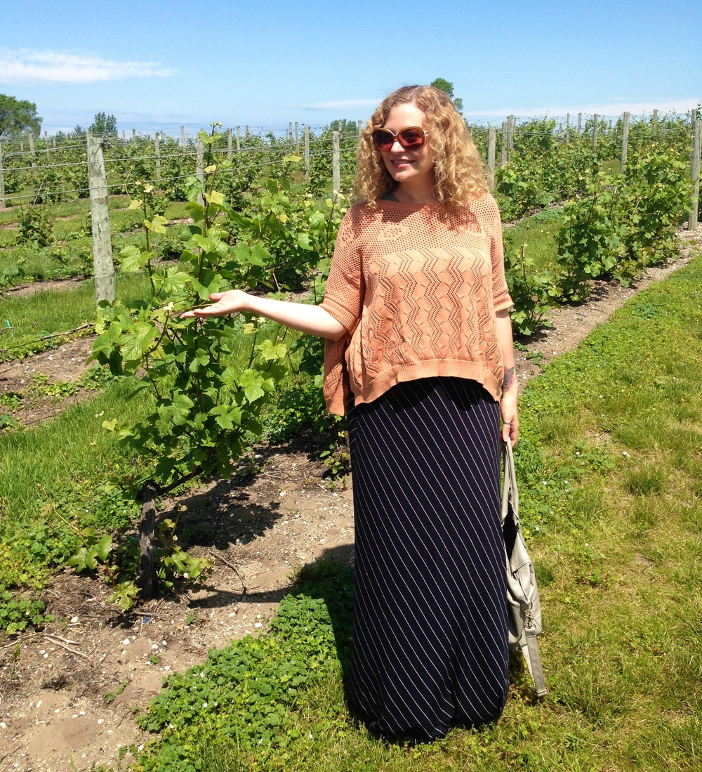 Standing in the vines at Ciccone Vineyards and Winery.