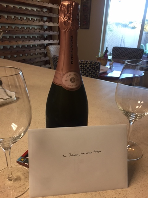 This is what was awaiting me when I got home from my exam. Gabe knows me so well! A NV Sonoma Sparkling Rosé from Piper Sonoma! Perfect.