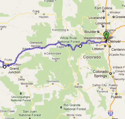 The route from Denver to Grand Junction, the area considered The Western Slope where grapes are grown for wine.