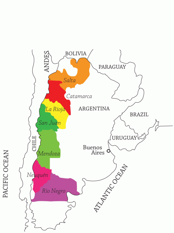 Map of Argentinian wine regions is from Uncork Life! Blog for WineChateau.com