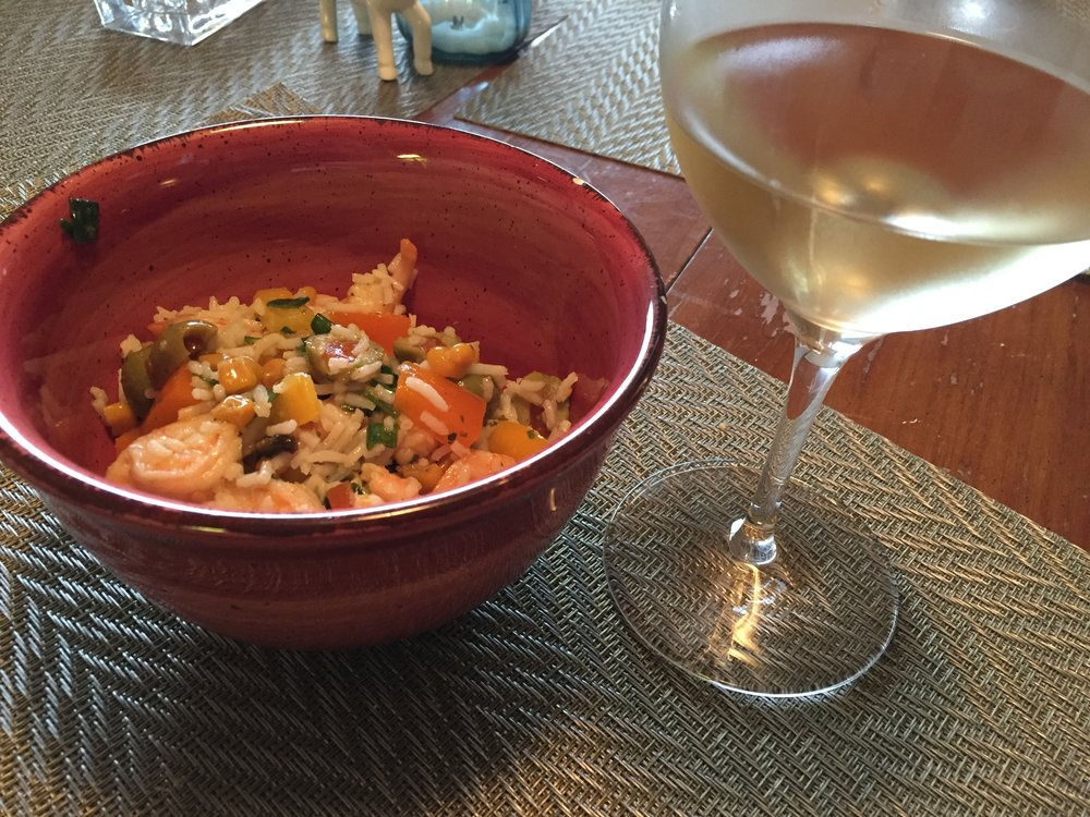 Cornfetti rice and shrimp salad with Kaiken Torrontés.