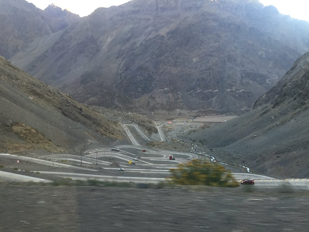 Does this photo make you dizzy? Shot from a phone while in a moving bus over The Andes, Argentina bound.