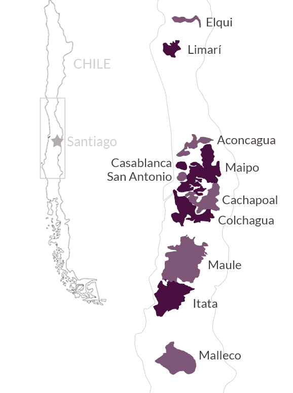 Map of Chilean wine regions is from Vine Connections.