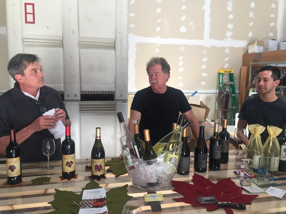 The winemakers from L to R: Paul Gokey of Sinecure, Michael Simons of Comanche Cellars and Miguel Lepe of Lepe Cellars.