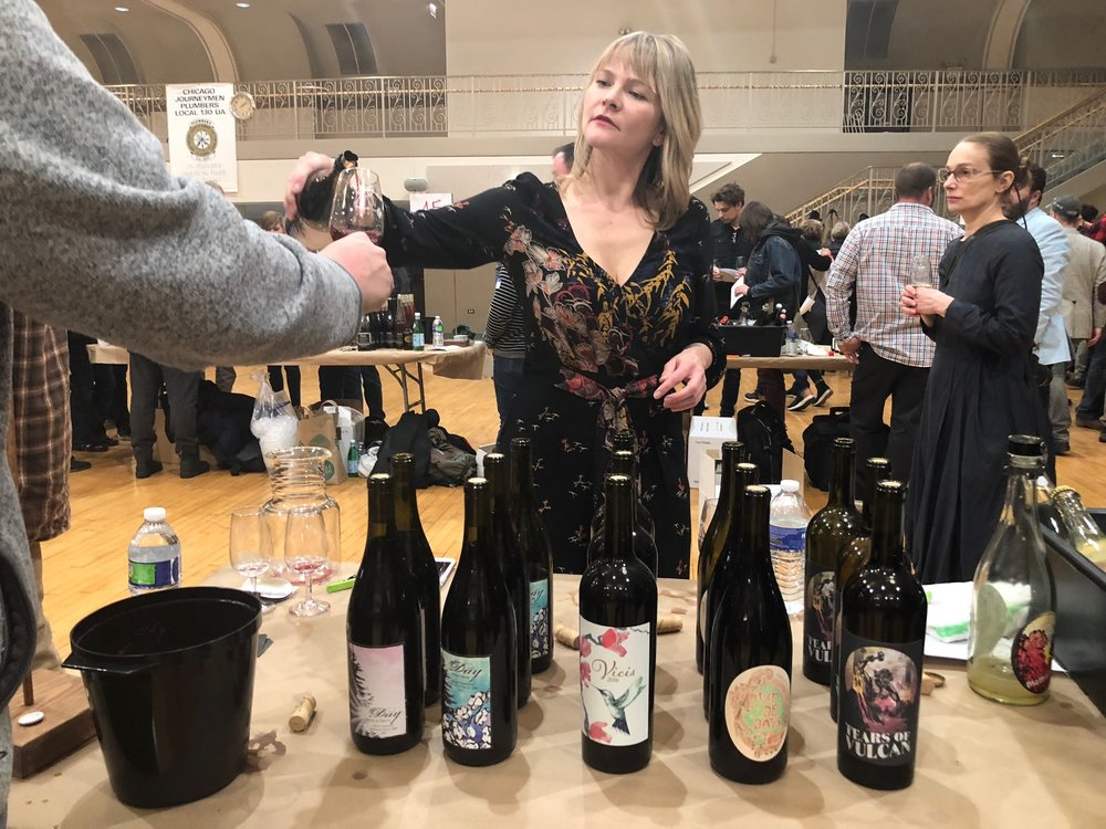 Day Wines - Brianne Day pouring her gorgeous wines at Third Coast Soif, Chicago, March 2018 Based in Dundee, Oregon, she makes Pinot Noir, Viognier, Vermentino dominant Pet Nat and more. Day Camp, the collective home of eleven small producers, including Day Wines, is the Willamette Valley's newest winemaking cooperative.