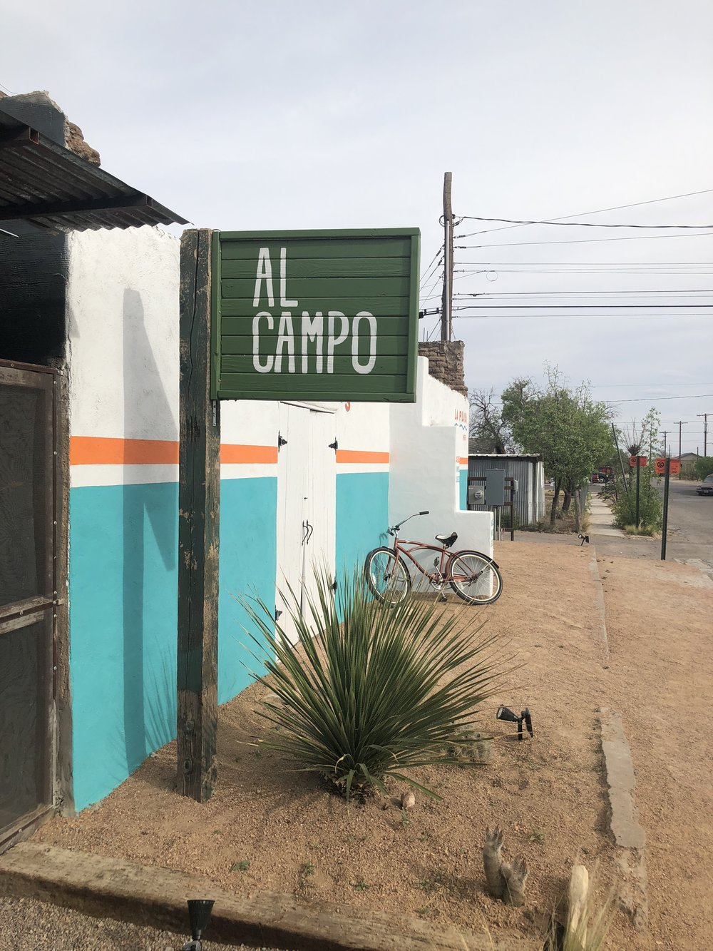 Al Campo , one of our favorite places in Marfa. They have a wine patio, restaurant and event space, all semi al fresco style.