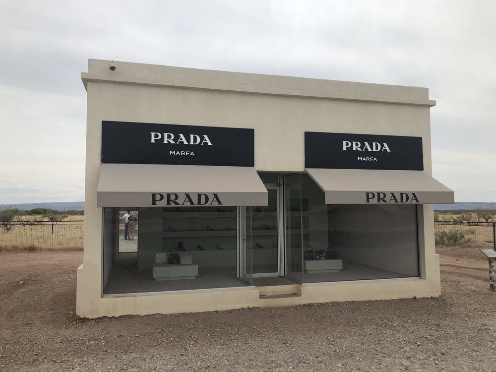 Prada Marfa installation on Highway 90.