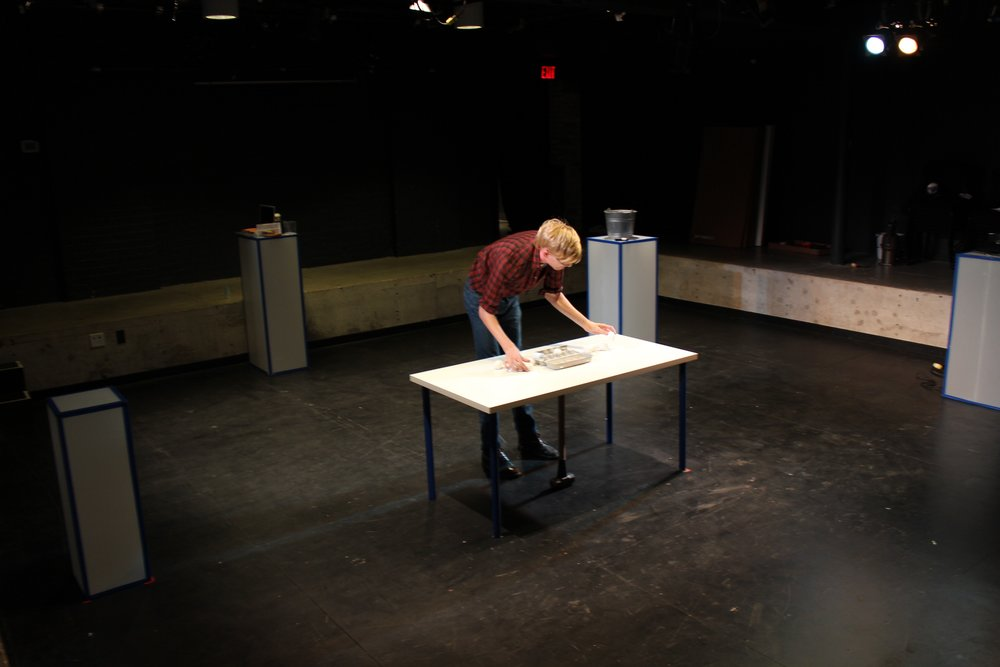 McKechnie in rehearsal at the Theatre Centre