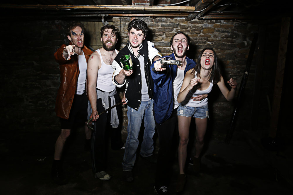 Promotional image for Cockfight. Photo by Chris DePaul. David Tompa, Brenhan Mc Kibbon, Benjamin Blais, Jakob Ehman, Caroline Toal