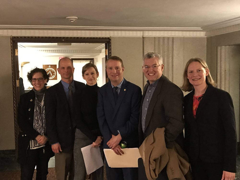 City of Minneapolis Attorney Susan Segal, advocate Mark Haase, Three Rivers CAP practitioner Amy Tudor, Rep. Nick Zerwas, and MABC's Dave Snyder and Anna Odegaard after a successful House hearing on the Fines & Fees bill. Mar 2017